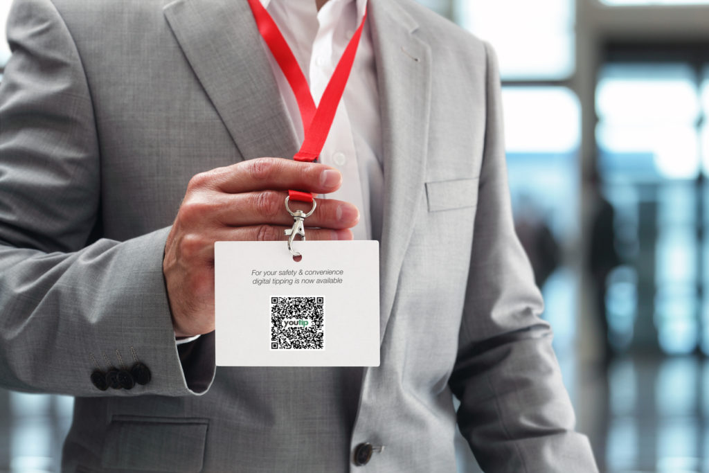 youtip qr code on an id badge