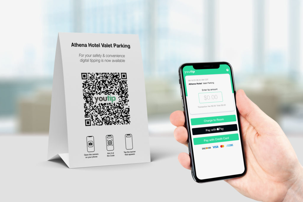 scanning qr code for digital tipping